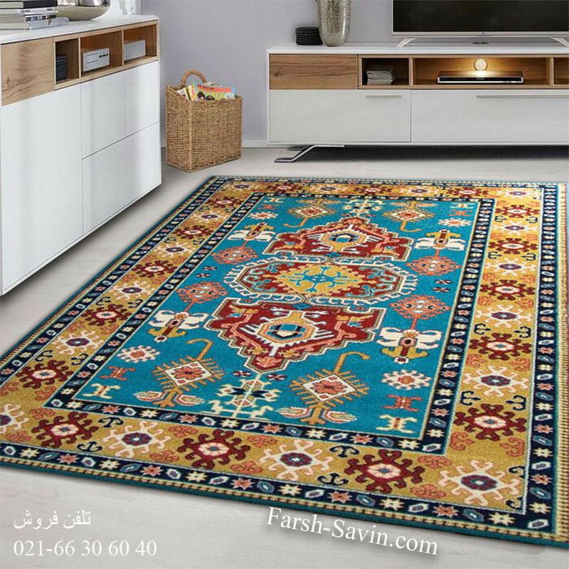 فرش ساوین طوبی آبی فرش با کیفیت