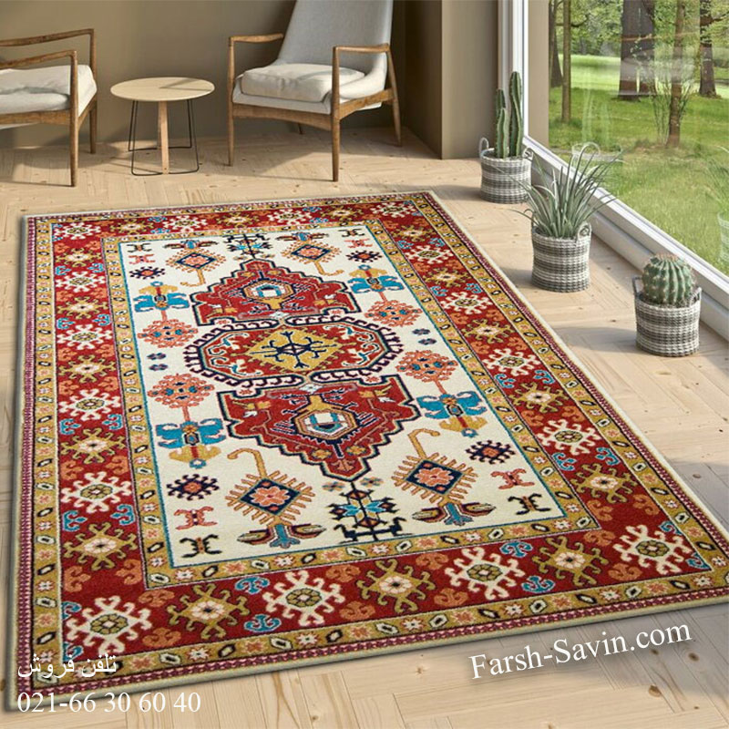 فرش ساوین طوبی کرم فرش سنتی