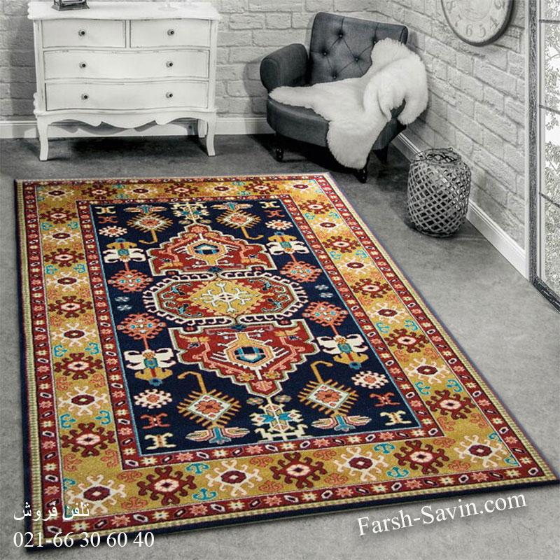 فرش ساوین طوبی سرمه ای فرش پرفروش