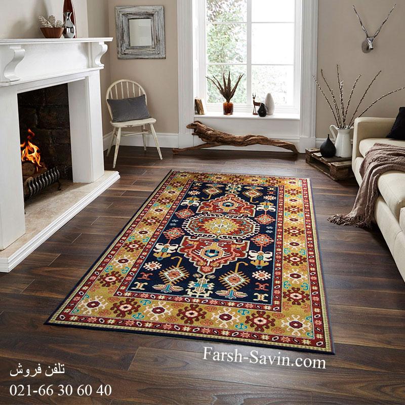 فرش ساوین طوبی سرمه ای فرش زیبا