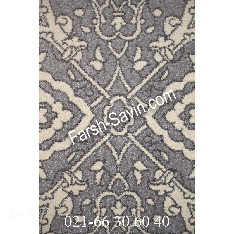 فرش ساوین 7403 نقره ای روشن فرش اتاق خواب