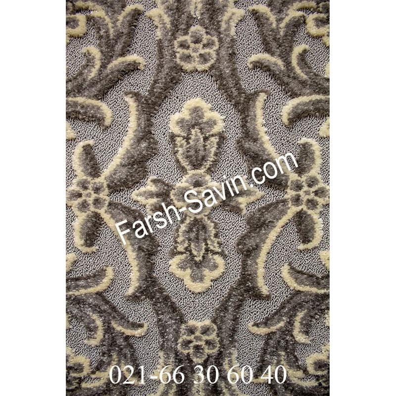 فرش ساوین 7406 نقره ای روشن فرش اتاق خواب