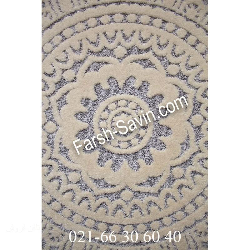 فرش ساوین 7408 نقره ای روشن فرش پرفروش