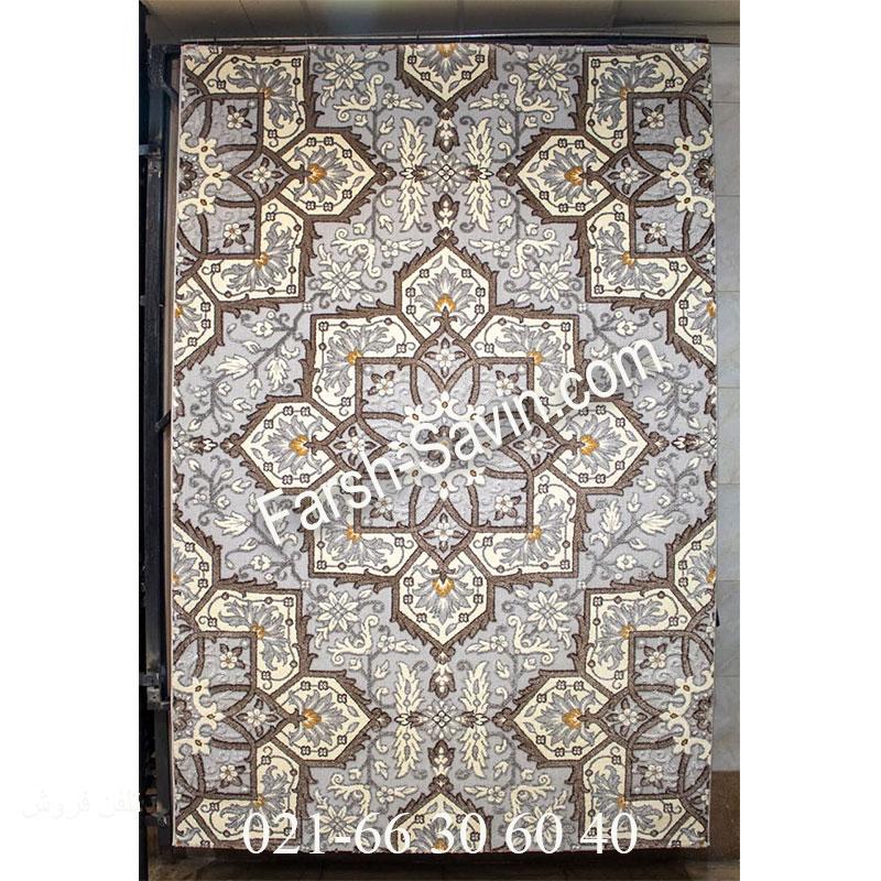 فرش ساوین 7411 نقره ای روشن فرش اتاق خواب