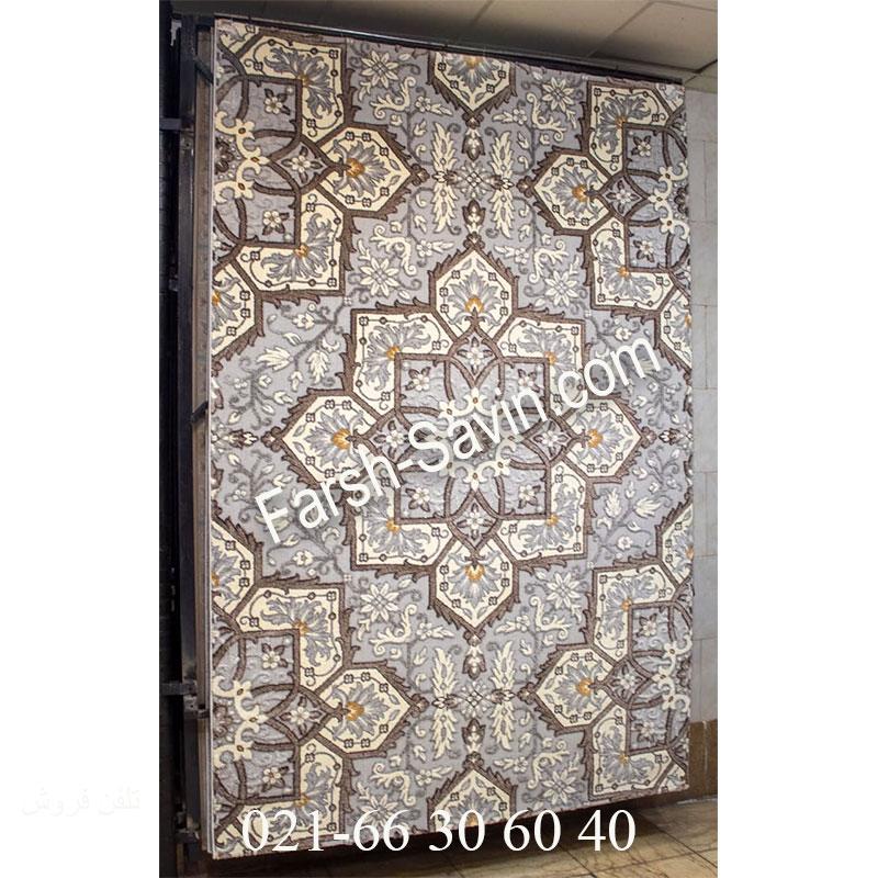 فرش ساوین 7411 نقره ای روشن فرش با کیفیت
