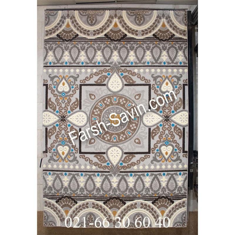 فرش ساوین 7416 نقره ای روشن فرش با دوام