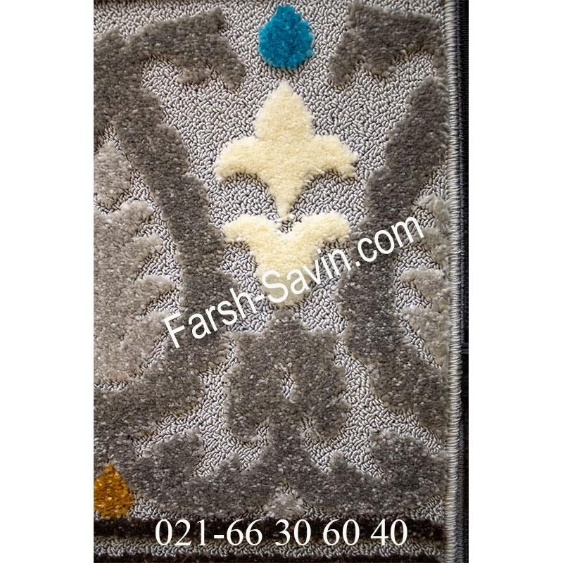 فرش ساوین 7416 نقره ای روشن فرش مدرن