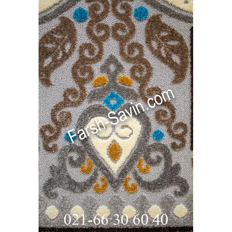 فرش ساوین 7416 نقره ای روشن فرش خاص