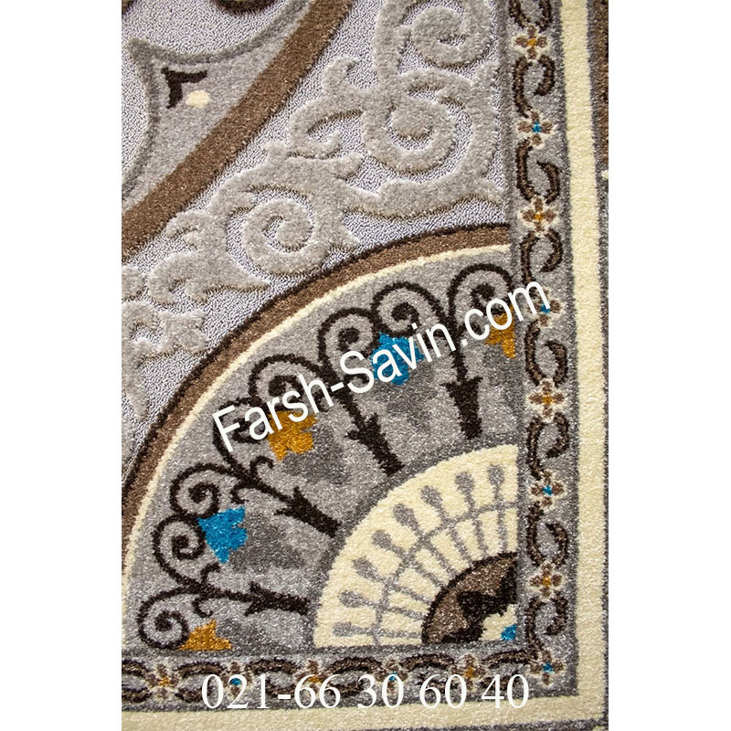 فرش ساوین 7418 نقره ای روشن فرش پرفروش
