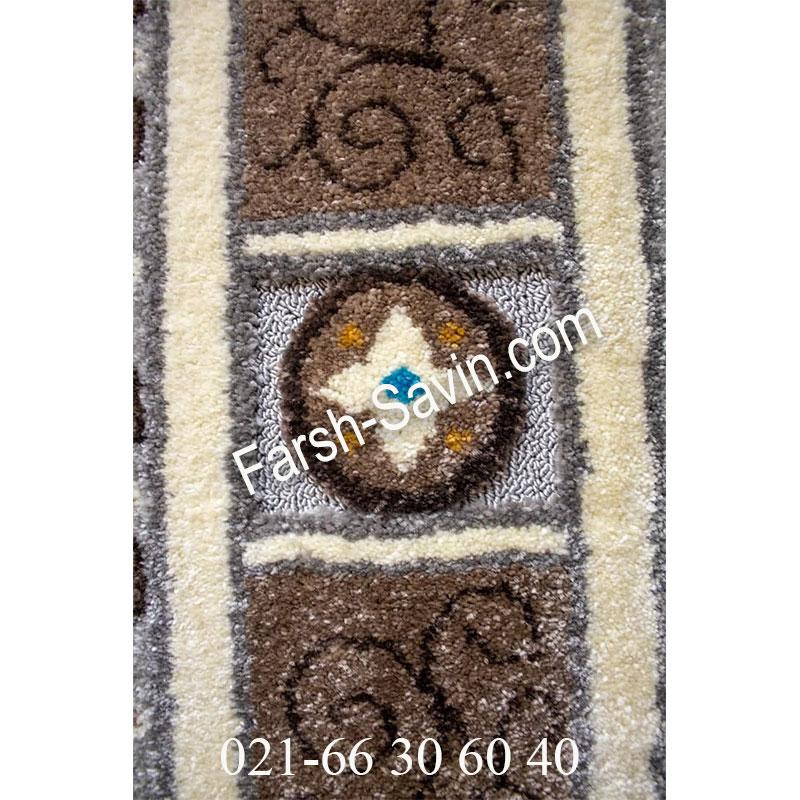 فرش ساوین 7418 نقره ای روشن فرش زیبا