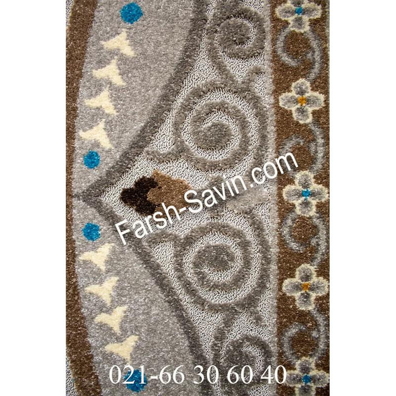 فرش ساوین 7418 نقره ای روشن فرش بادوام