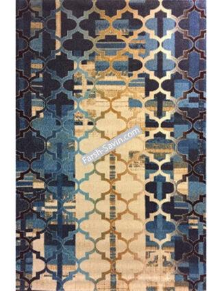 فرش ساوین 7278 آبی تیره مراکشی کهنه نما