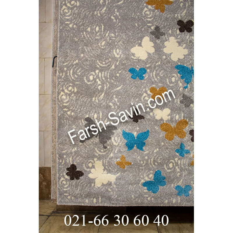 فرش ساوین 1641 نقره ای روشن فرش زیبا
