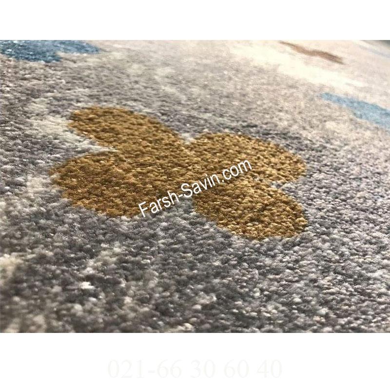 فرش ساوین 1641 نقره ای روشن فرش پرفروش