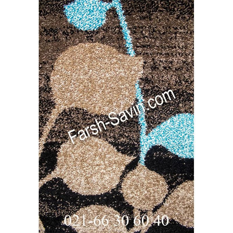 فرش ساوین 4001 شکلاتی فرش پرفروش