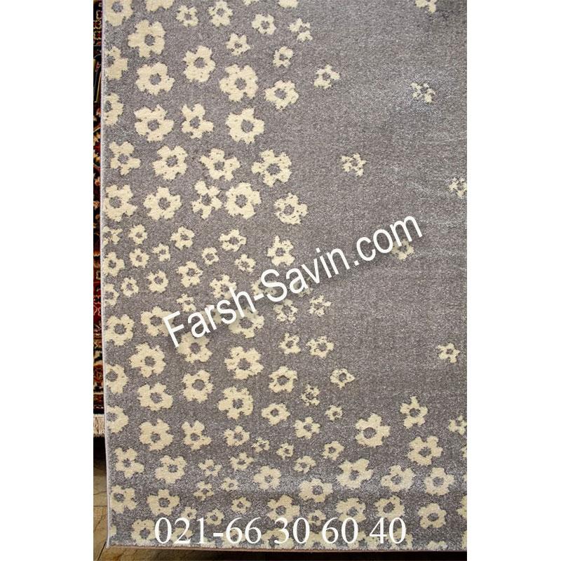 فرش ساوین 4007 نقره ای فرش خاص