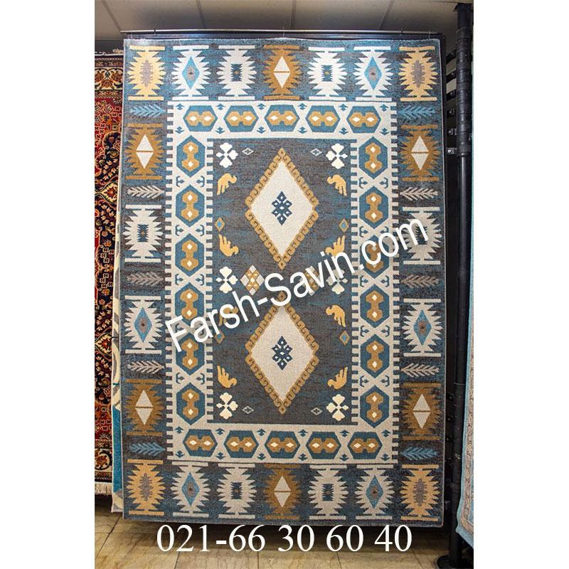فرش ساوین 4036 آبی فرش خوش رنگ