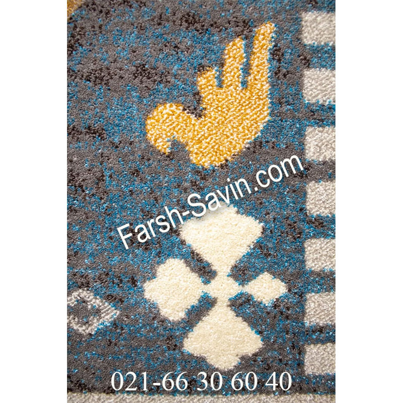 فرش ساوین 4036 آبی فرش چند رنگ