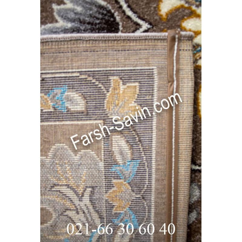 فرش ساوین 4041 شکلاتی فرش خوش رنگ