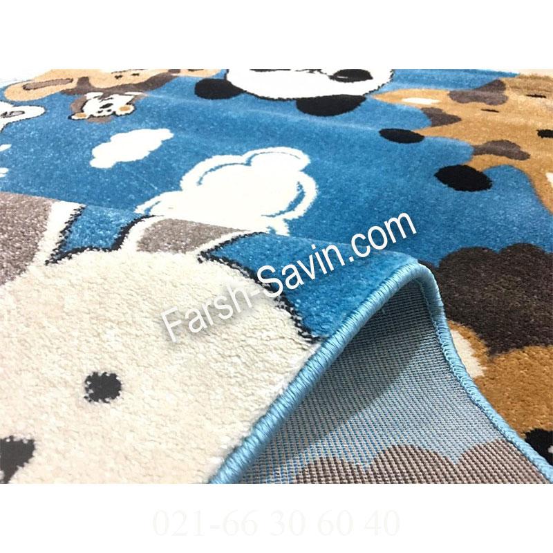 فرش ساوین 4058 آبی فرش بادوام
