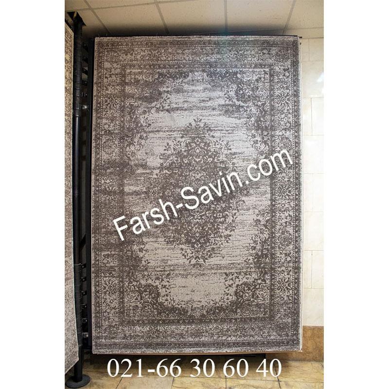 فرش ساوین 4062 نقره ای مشکی فرش خوش رنگ