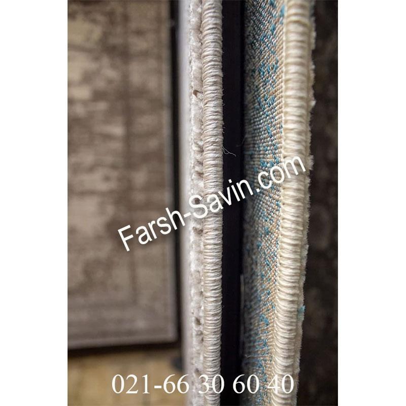 فرش ساوین 4062 نقره ای مشکی فرش خاص