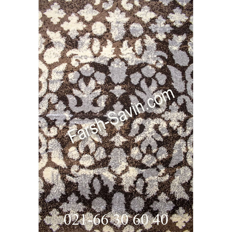 فرش ساوین 4068 شکلاتی فرش زیبا