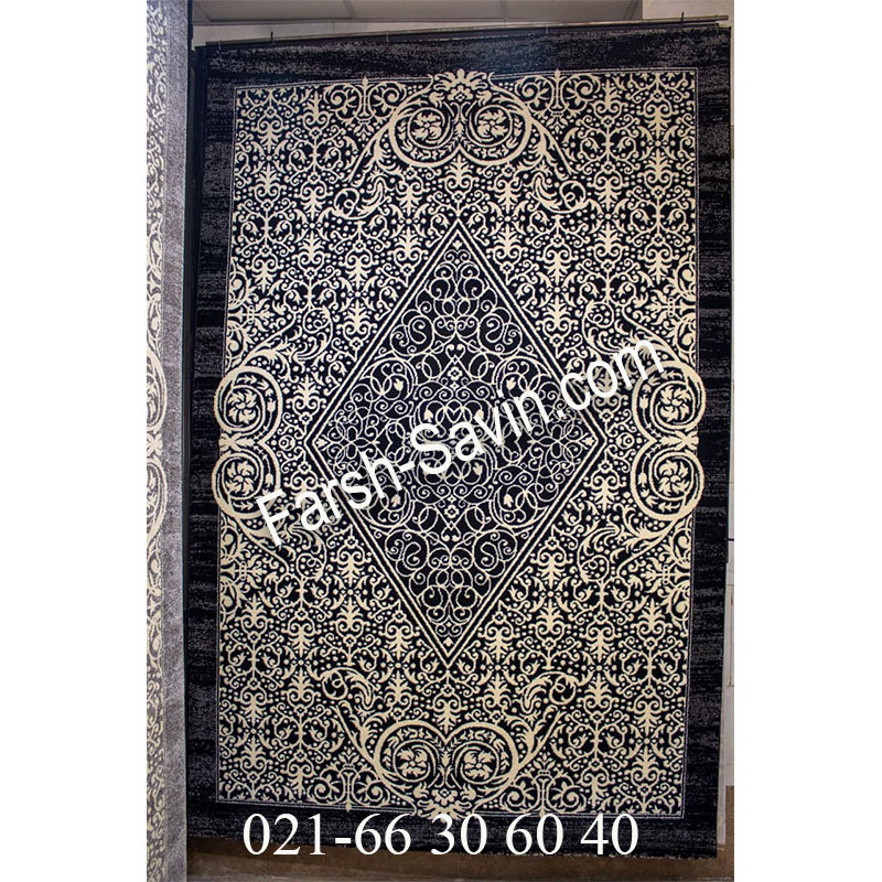 فرش ساوین 4069 مشکی فرش خوشگل