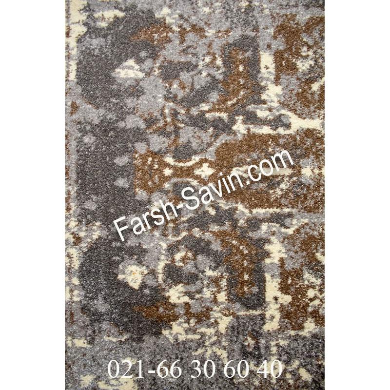 فرش ساوین 4082 نقره ای روشن فرش زیبا