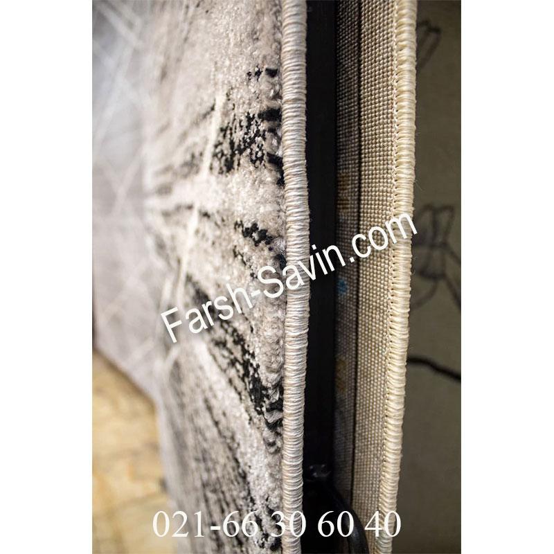 فرش ساوین 4083 نقره ای مشکی فرش خاص