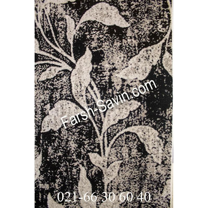فرش ساوین 4089 مشکی فرش خوش نقش