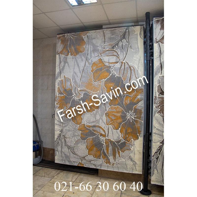 فرش ساوین 4090 عسلی فرش با کیفیت