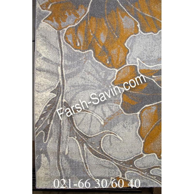 فرش ساوین 4090 عسلی فرش خوش نقشه