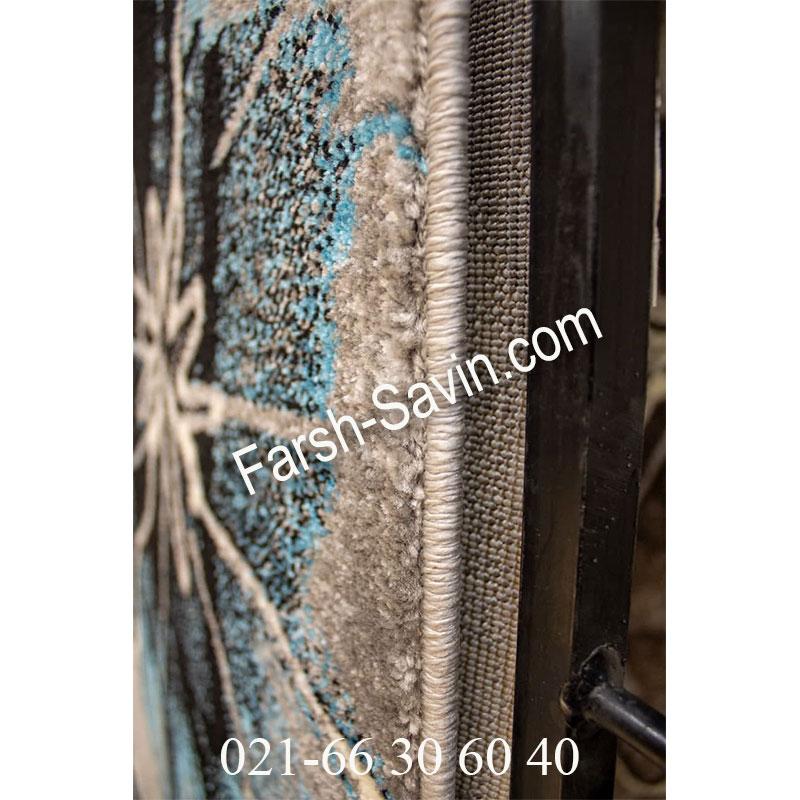 فرش ساوین 4090 آبی فرش فانتزی