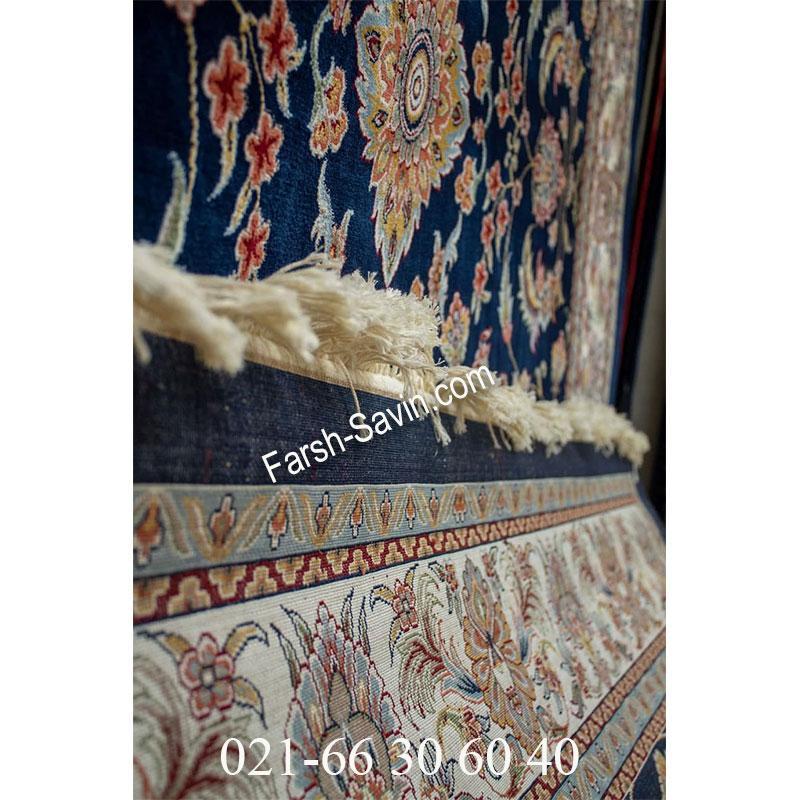فرش ساوین 4501 سرمه ای فرش پر نقش