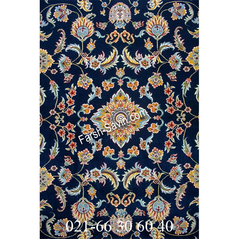 فرش ساوین 4501 سرمه ای فرش گلدار