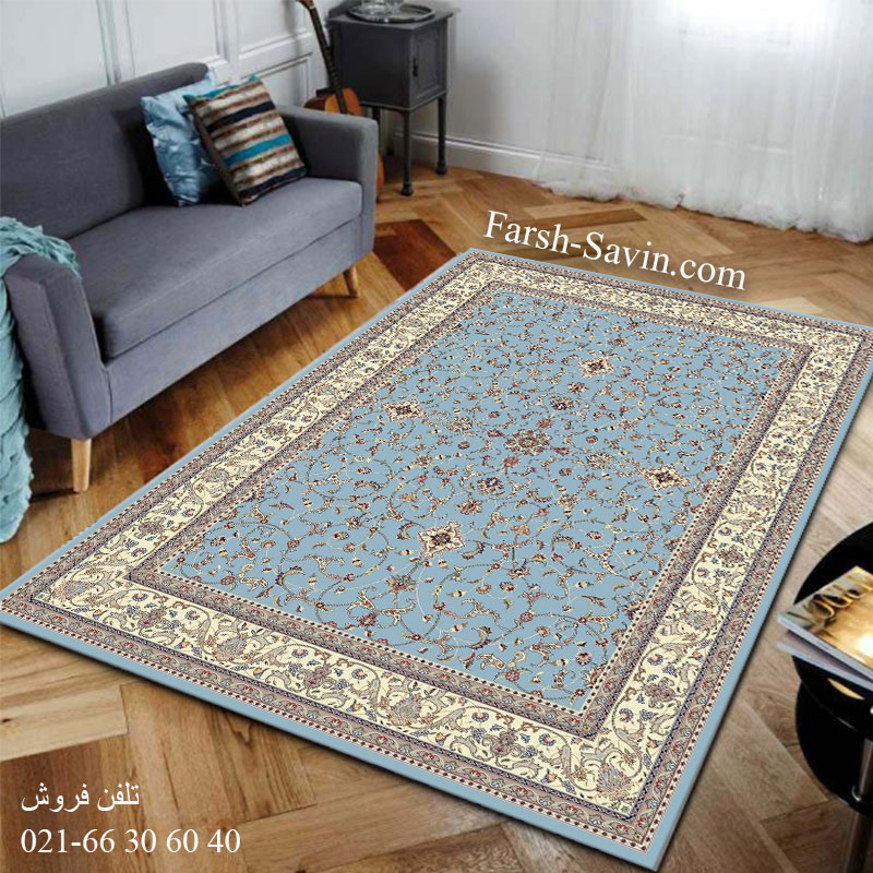 فرش ساوین 4503 آبی فرش پذیرایی