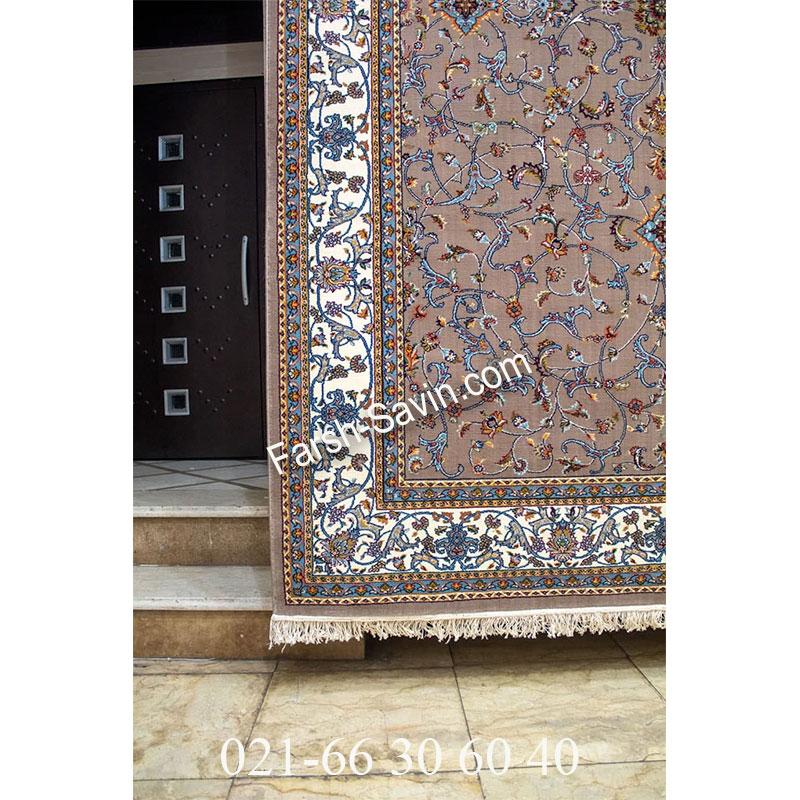 فرش ساوین 4503 شتری فرش خوش رنگ