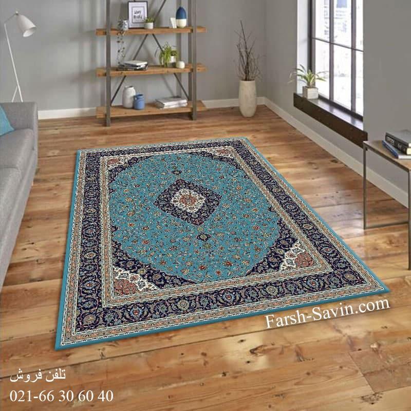 فرش ساوین 4510 آبی فرش ارزان