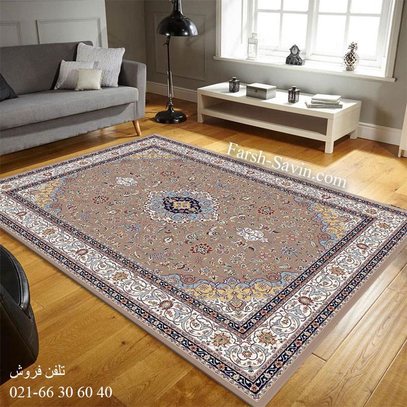 فرش ساوین 4505 شتری فرش اتاق پذیرایی