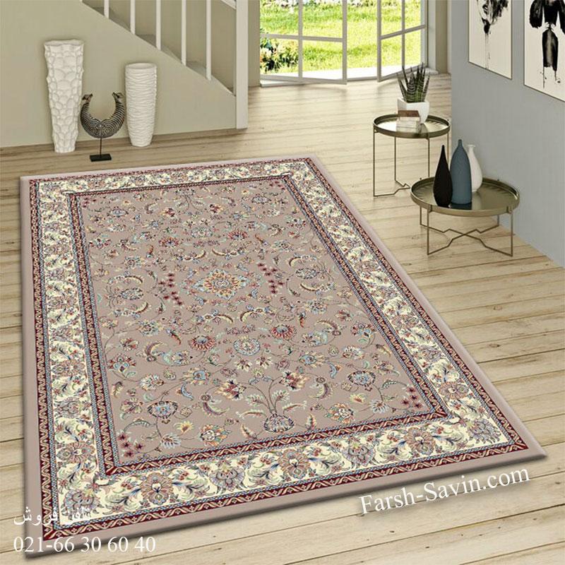 فرش ساوین 4501 شتری فرش اتاق پذیرایی