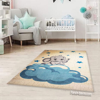 فرش ساوین 4049 فیل مهربان 4 متری اتاق کودک