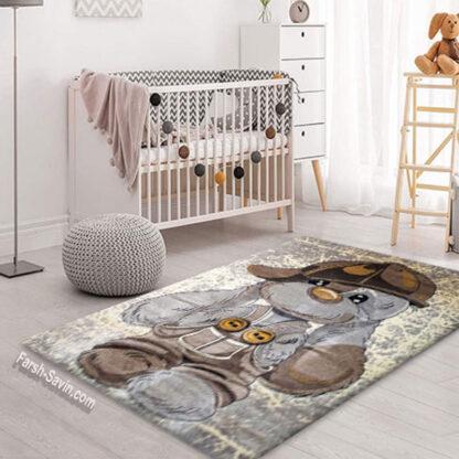 فرش ساوین 4059 خرگوش مهربان 1/5 متری اتاق کودک