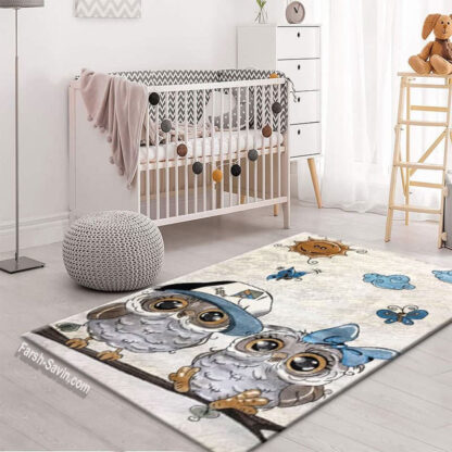فرش ساوین طرح جغد مهربان 4 متری اتاق کودک