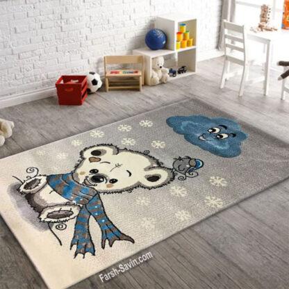 فرش ساوین خرس برفی 4 متری اتاق کودک
