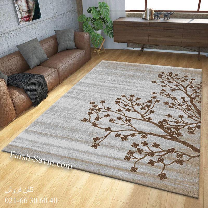 فرش ساوین 4006 نقره ای فرش خاص