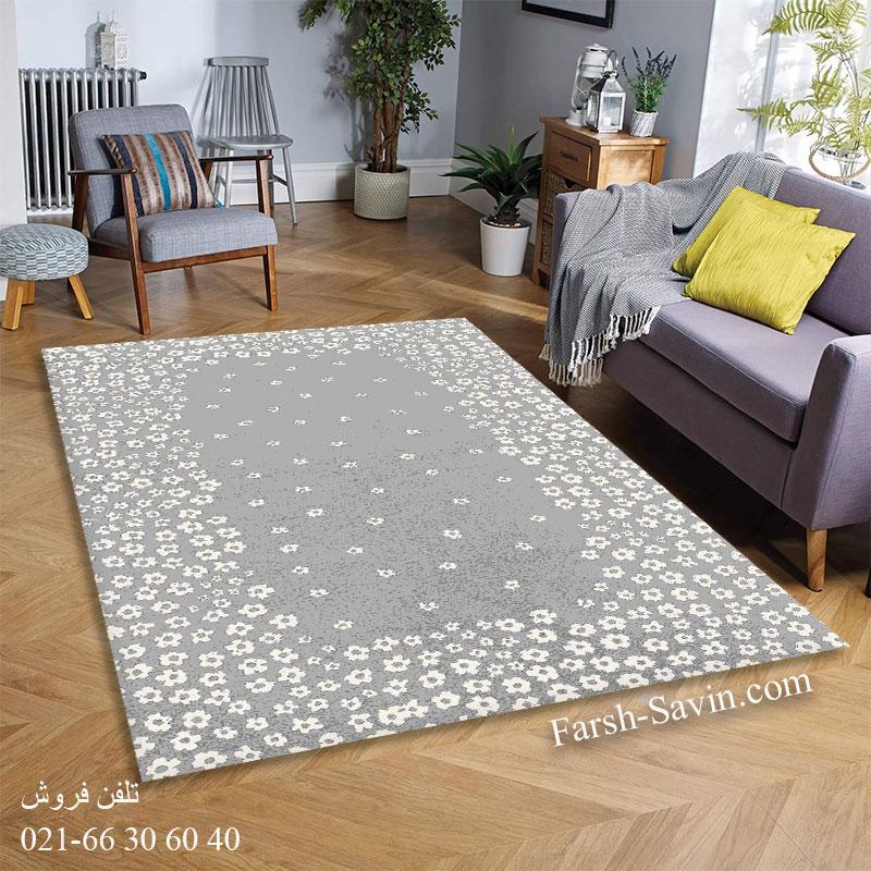 فرش ساوین 4007 نقره ای فرش بادوام