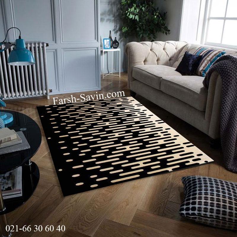 فرش ساوین 4020 مشکی فرش پذیرایی