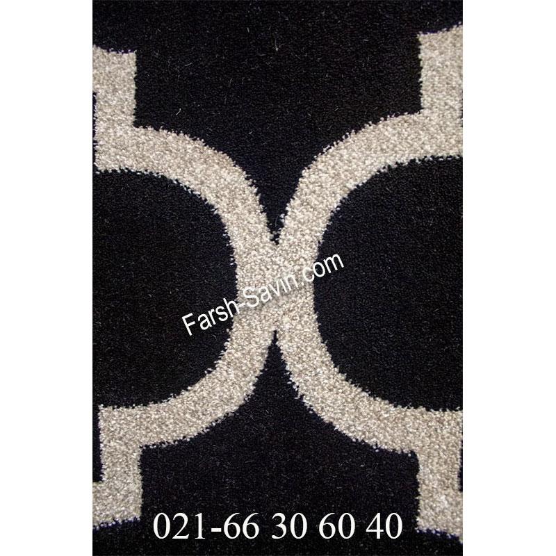 فرش ساوین 4025 مشکی فرش مدرن