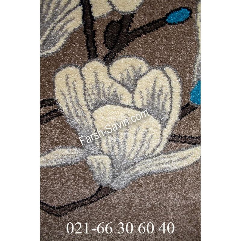 فرش ساوین 4037 شکلاتی فرش زیبا